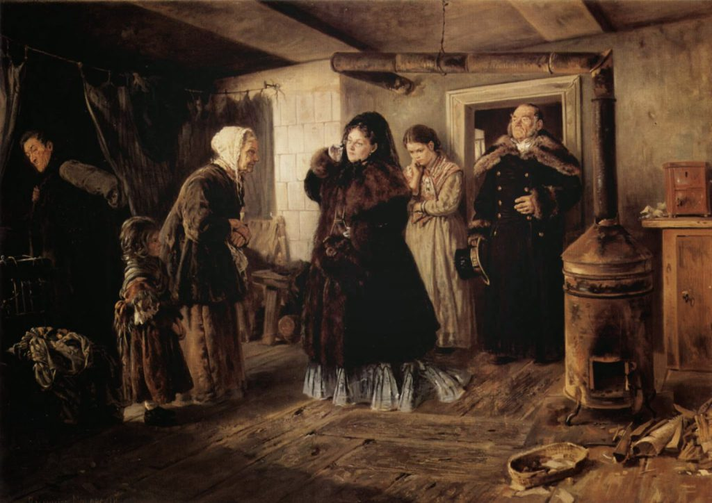 vladimir makovsky-visiting-a-poor-people-1874
