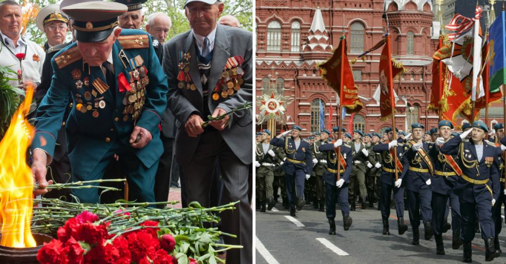 Традиция празднования 9 мая: посещение могилы Неизвестного солдата; на Красной площади стали проводить шествия; празднование заканчивалосьфейерверком.